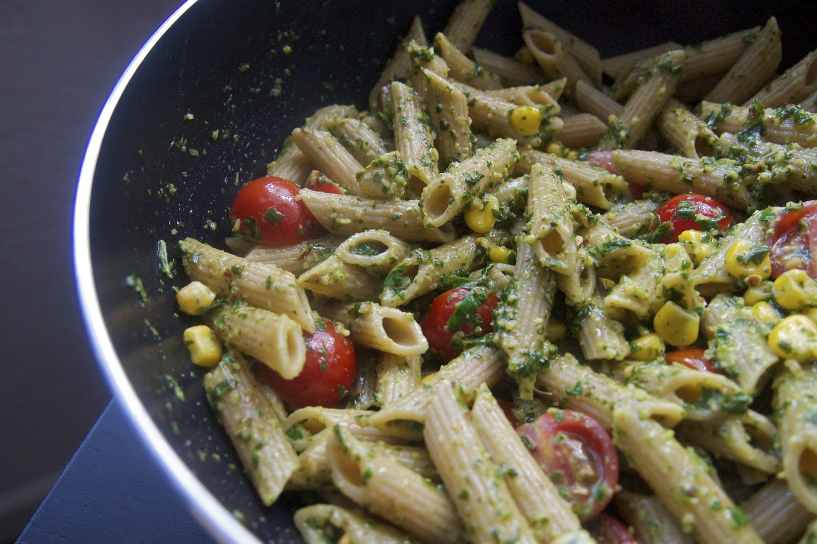 Basil Almond Pesto Pasta with Corn and Cherry Tomatoes